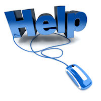 "Image of a ""Help"" sign with an old corded computer mouse"